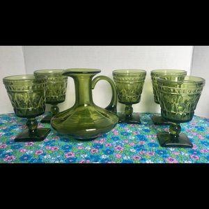 Vintage Green Depression Glass Decanter & Goblets